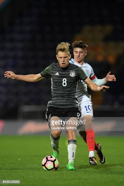 Arne Maier of Germany and Mason Mount of England during the U19 International match between England and Germany at One Call Stadium on September 5...
