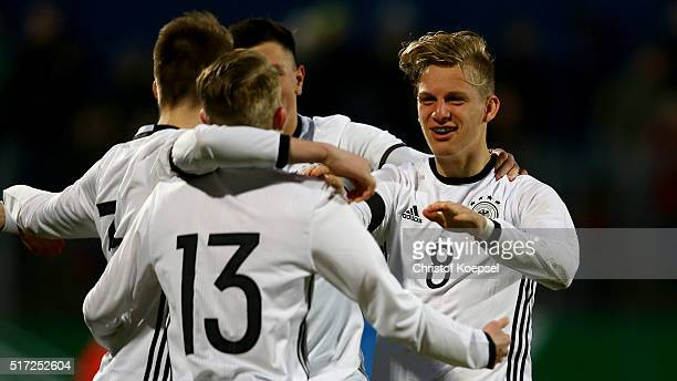 Arne Maier of Germany celebrates the third goal with his team mates during the U17 Euro Qualification match between Germany and Slovakia at Paul...