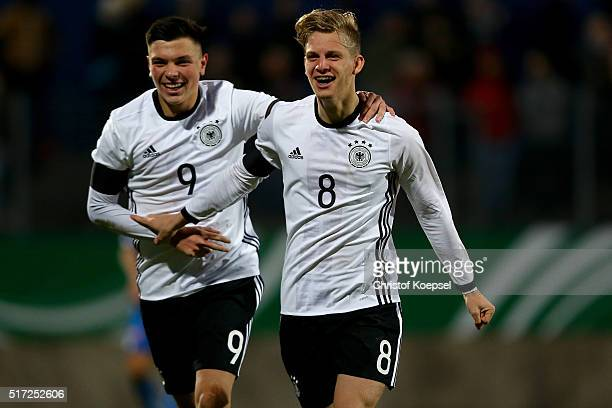 Arne Maier of Germany celebrates the third goal with Renat Dadachov of Germany during the U17 Euro Qualification match between Germany and Slovakia...