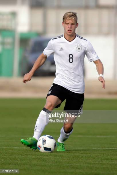 Arne Maier of Germany in action during the U19 International Friendly between U19 Cyprus and U19 Germany at Anagennisi Dherynia Stadium on November...