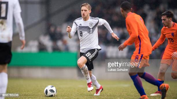 Arne Maier of Germany in action during the Under 19 Euro Qualifier between Germany and Netherlands on March 27 2018 in Ahlen Germany