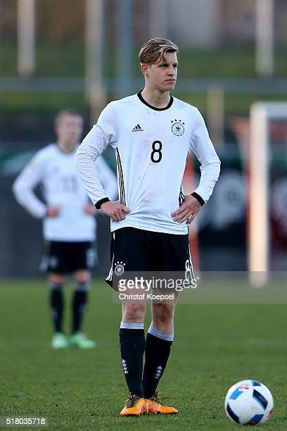 Arne Maier of Germany is seen during the U17 Euro Qualification match between Germany and Netherlands at Paul Janes Stadium on March 29 2016 at...