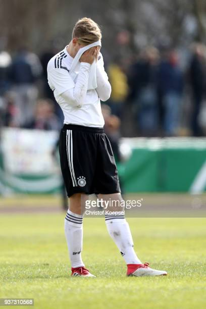 Arne Maier of Germany looks after the UEFA Under19 European Championship Qualifier match between Germany and Norway at Stadion Grosse Wiese on March...