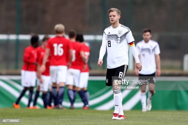 Arne Maier of Germany looks dejected after the second goal of Norway during the UEFA Under19 European Championship Qualifier match between Germany...
