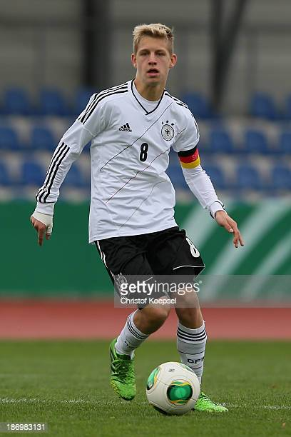 Arne Maier of Germany runs with the ball during the U15 international friendly match between Germany and South Korea at Jahnstadion on November 5...
