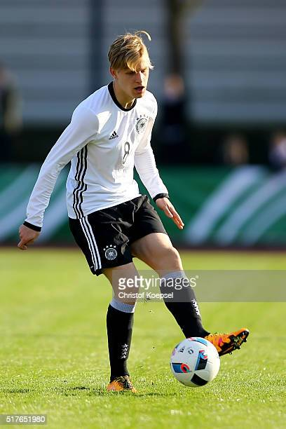 Arne Maier of Germany runs with the ball during the U17 Euro Qualification match between Germany and Bulgaria at Stadium Ratingen on March 26 2016 in...