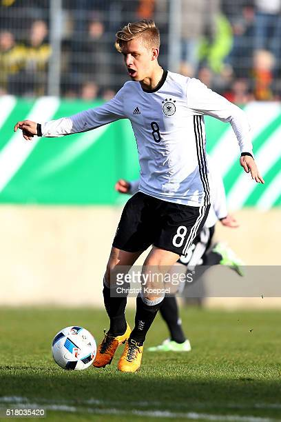 Arne Maier of Germany runs with the ball during the U17 Euro Qualification match between Germany and Netherlands at Paul Janes Stadium on March 29...