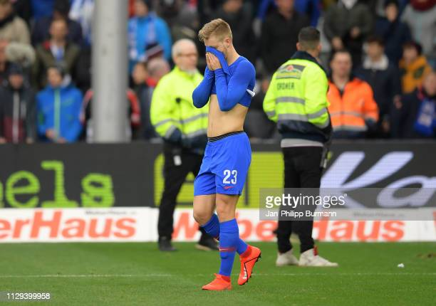 Arne Maier of Hertha BSC after the Bundesliga match between SC Freiburg and Hertha BSC at the SchwarzwaldStadion on March 9 2019 in Freiburg Germany