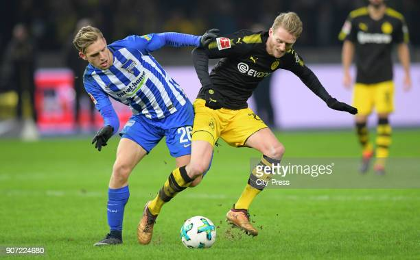 Arne Maier of Hertha BSC and Andre Schuerrle of Borussia Dortmund during the game between Hertha BSC and Borussia Dortmund on january 19 2018 in...