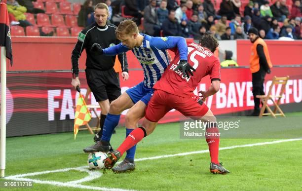 Arne Maier of Hertha BSC and Julian Baumgartlinger of Bayer 04 Leverkusen during the first Bundeliga game between Bayer 04 Leverkusen and Hertha BSC...
