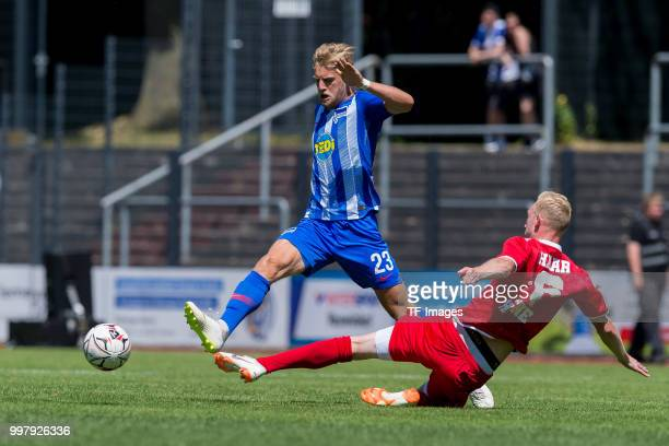 Arne Maier of Hertha BSC and Justin Klein of Westfalia Herne battle for the ball during the TEDiCup match between Hertha BSC and Westfalia Herne on...