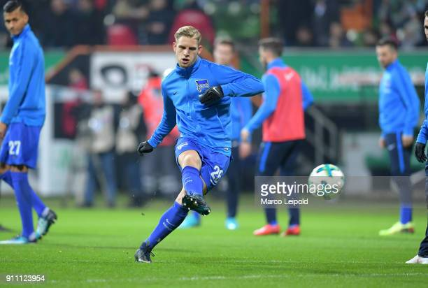 Arne Maier of Hertha BSC before the game between SV Werder Bremen and Hertha BSC on january 27 2018 in Bremen Germany