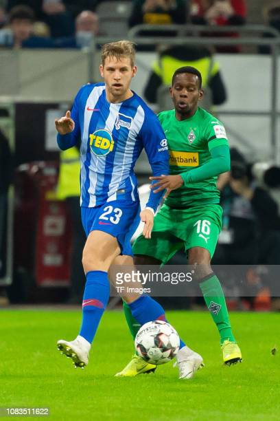 Arne Maier of Hertha BSC Berlin and Ibrahima Traore of Borussia Moenchengladbach battle for the ball during the Telekom Cup 2019 Semifinal match...
