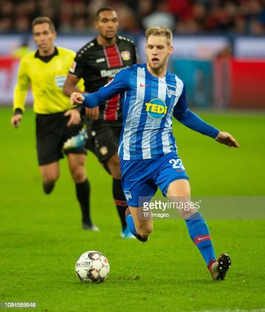 Arne Maier of Hertha BSC Berlin controls the ball during the Bundesliga match between Bayer 04 Leverkusen and Hertha BSC at BayArena on December 22...