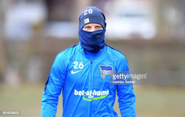 Arne Maier of Hertha BSC during a training session at Schenkendorfplatz on February 27 2018 in Berlin Germany