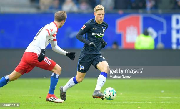 Arne Maier of Hertha BSC during the Bundesliga game between Hamburger SV and Hertha BSC at Volksparkstadion on March 17 2018 in Hamburg Germany