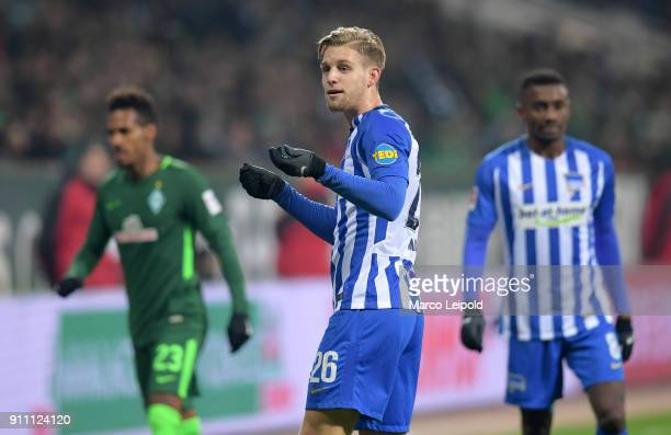 Arne Maier of Hertha BSC during the game between SV Werder Bremen and Hertha BSC on january 27 2018 in Bremen Germany
