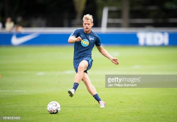 Arne Maier of Hertha BSC during the training at Schenkendorfplatz on August 13 2018 in Berlin Germany
