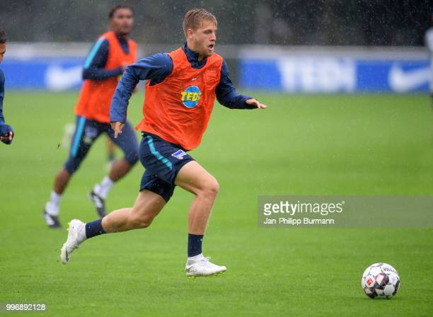Arne Maier of Hertha BSC during the training at the Schenkendorfplatz on July 12 2018 in Berlin Germany