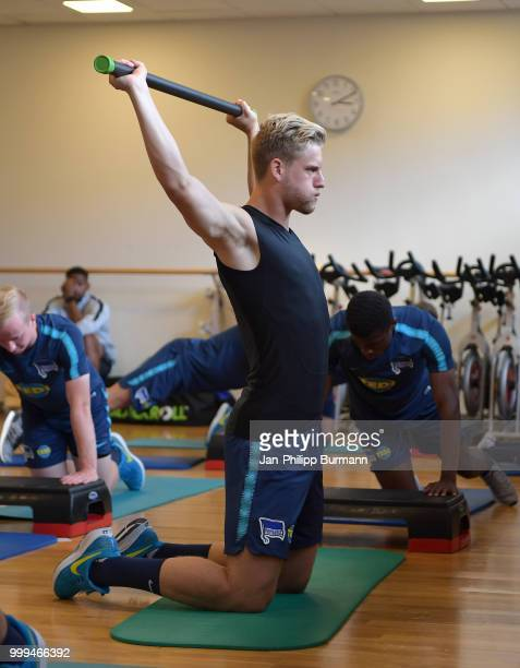 Arne Maier of Hertha BSC during the training camp at VolksparkStadion on July 15 2018 in Neuruppin Germany