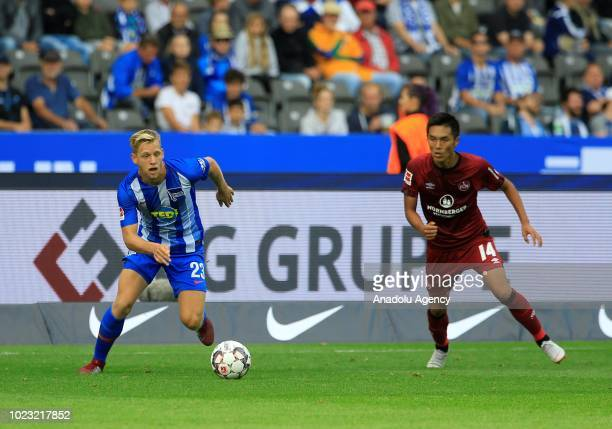 Arne Maier of Hertha BSC in action during he Bundesliga match between Hertha BSC against FC Nuernberg at Olympiastadion in Berlin Germany on August...