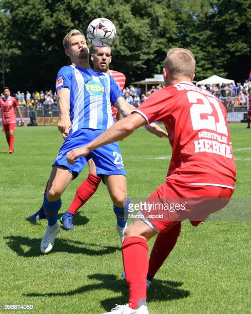 Arne Maier of Hertha BSC in action with Ball during the game between Hertha BSC and Westfalia Herne at the MondpalastArena on july 8 2018 in Herne...