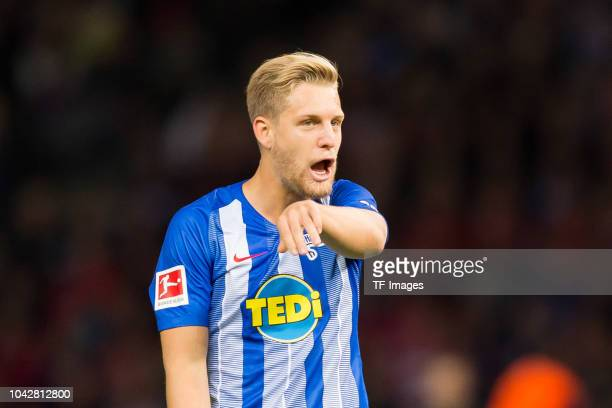 Arne Maier of Hertha BSC looks on during the Bundesliga match between Hertha BSC and FC Bayern Muenchen at Olympiastadion on September 28 2018 in...