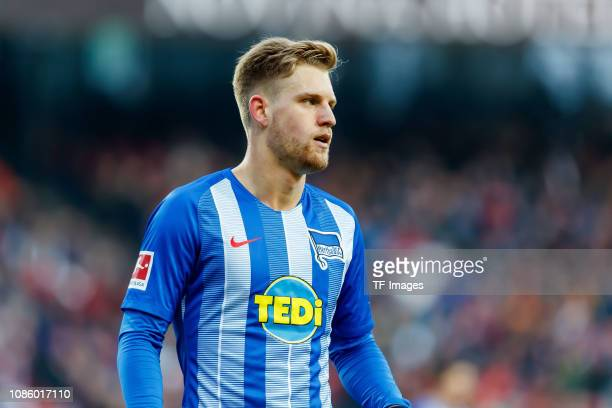Arne Maier of Hertha BSC looks on during the Bundesliga match between 1 FC Nuernberg and Hertha BSC at MaxMorlockStadion on January 20 2019 in...