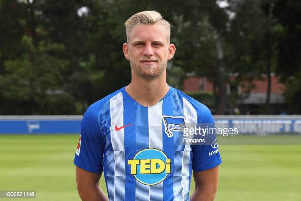 Arne Maier of Hertha BSC poses during the team presentation at Schenkendorffplatz on July 23 2018 in Berlin Germany
