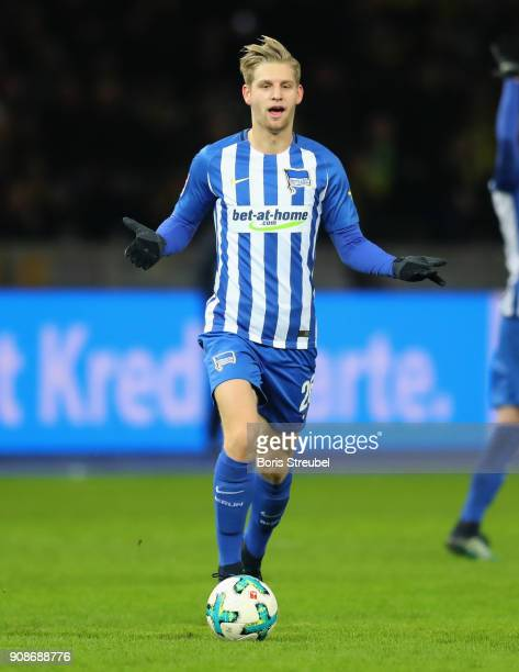 Arne Maier of Hertha BSC runs with the ball during the Bundesliga match between Hertha BSC and Borussia Dortmund at Olympiastadion on January 19 2018...