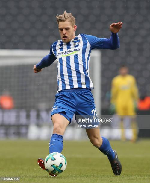 Arne Maier of Hertha BSC runs with the ball during the Bundesliga match between Hertha BSC and SportClub Freiburg at Olympiastadion on March 10 2018...