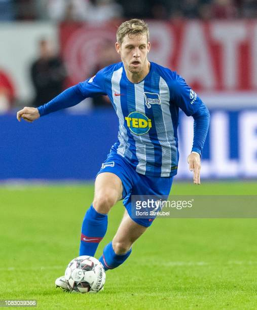 Arne Maier of Hertha BSC runs with the ball during the Telekom Cup 2019 semifinal match between Borussia Moenchengladbach and Hertha BSC at Merkur...