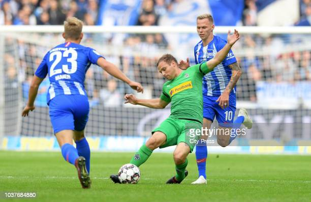 Arne Maier of Hertha BSC Tony Jantschke of Borussia Moenchengladbach and Ondrej Duda of Hertha BSC during the game between Hertha BSC and Borussia...