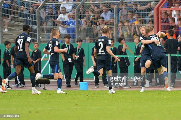 Arne Maier of Hertha celebrates after scoring his team`s third goal with team mates during the German A Juniors Championship final match between FC...