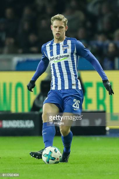 Arne Maier of Hertha controls the ball during the Bundesliga match between Hertha BSC and Borussia Dortmund at Olympiastadion on January 19 2018 in...