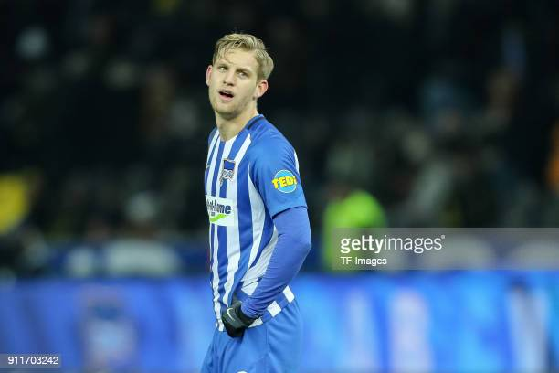 Arne Maier of Hertha looks on during the Bundesliga match between Hertha BSC and Borussia Dortmund at Olympiastadion on January 19 2018 in Berlin...