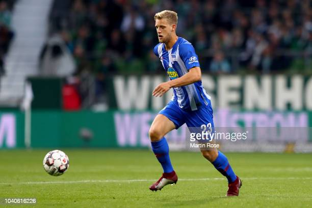 Arne Maier of Hertha runs with the ball during the Bundesliga match between SV Werder Bremen and Hertha BSC at Weserstadion on September 25 2018 in...