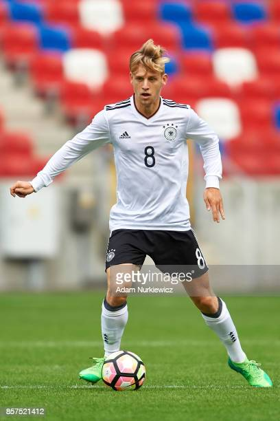 Arne Maier of U19 Germany controls the ball during UEFA Under19 Euro Qualifier match between Germany and Belarus at the Zabrze Arena on October 4...