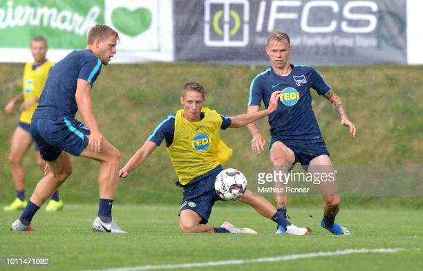 Arne Maier Palko Dardai and Ondrej Duda of Hertha BSC during the training camp on August 5 2018 in Schladming Austria