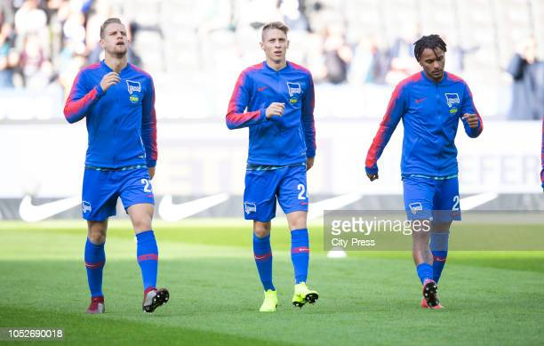 Arne Maier Palko Dardai and Valentino Lazaro of Hertha BSC before the game between Hertha BSC and SC Freiburg at the Olympiastadion on october 21...