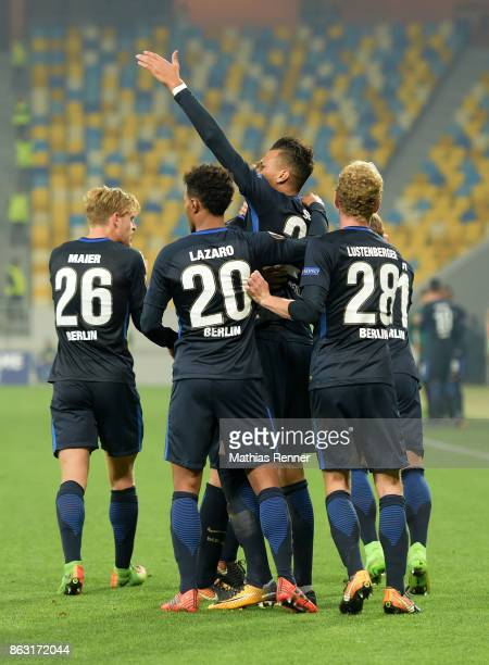 Arne Maier Valentino Lazaro Davie Selke and Fabian Lustenberger of Hertha BSC celebrate after scoring the 11 during the Europa League group J game...