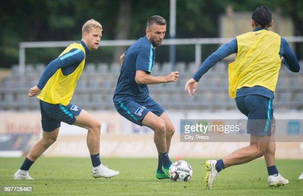 Arne Maier Vedad Ibisevic Karim Rekik during the Hertha BSC training camp on july 13 2018 in Neuruppin Germany