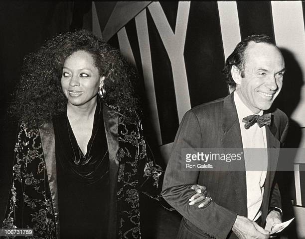 Arne Naess and Diana Ross during Performance of Waiting for Godot at Lincoln Center in New York City New York United States