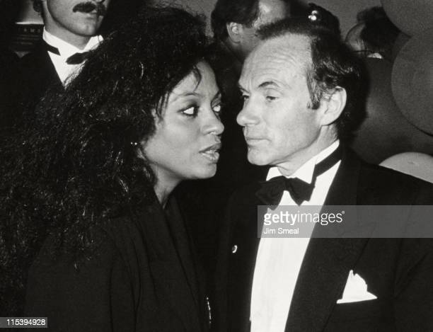 Arne Naess and Diana Ross during Swifty Lazar Oscar Party at Spago's Restaurant in Hollywood California United States
