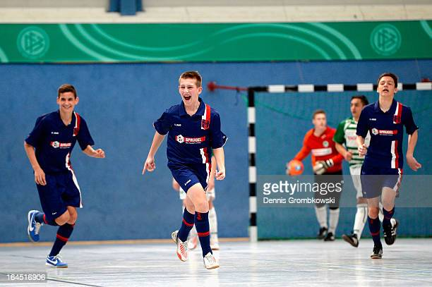Arne Schuelke of Hollenbach celebrates after scoring a goal in the DFB C Juniors Futsal Cup semi-final match between SpVgg Greuther Fuerth and FSV...