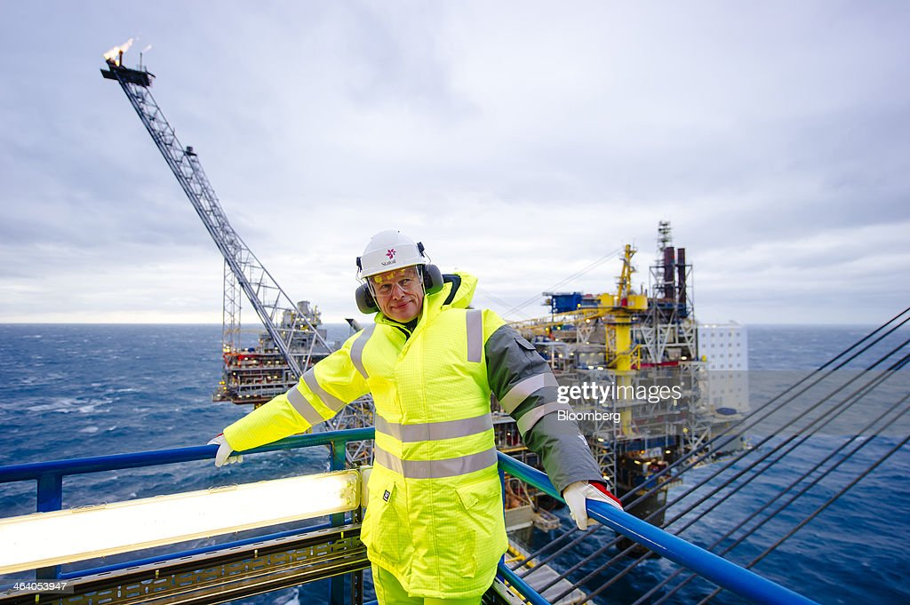 Arne Sigve Nylund, vice president for development and production in Norway for Statoil ASA, pauses during a tour of the Oseberg A offshore gas platform, operated by Statoil, in the North Sea 140kms from Bergen, Norway, on Friday, Jan. 17, 2014. Statoil, Norway's biggest energy company, sees the potential to keep domestic oil and gas output at today's levels until 2025 and possibly beyond even as it tightens spending amid rising costs. Photographer: Kristian Helgesen/Bloomberg via Getty Images
