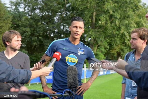 Arne Werner and Davie Selke of Hertha BSC after the training at the Schenkendorfplatz on august 28 2018 in Berlin Germany