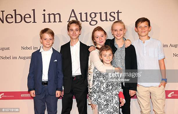 Arne Wichert Niklas Post Annely Prey Carla Karsten Jule Hermann and Ivo Pietzcker during the premiere of the film 'Nebel im August' at City Kino on...