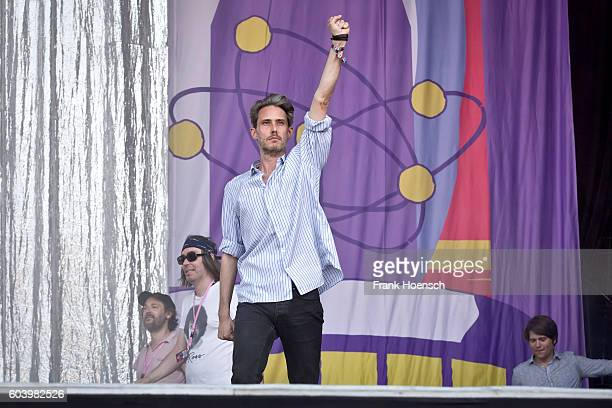 Arne Zank Rick McPhail Dirk von Lowtzow and Jan Mueller of the German band Tocotronic perform live on stage during the first day of Lollapalooza...