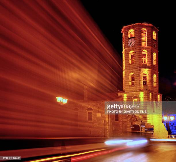 arnea st. stephen's bell tower at night - dimitrios tilis stock pictures, royalty-free photos & images